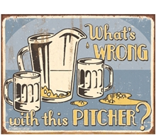 Pitcher Metal Sign
