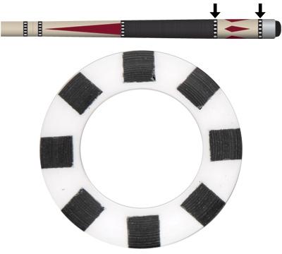 White/Black 8 Window Butt Ring