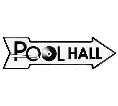 Embossed Metal Pool Hall Sign