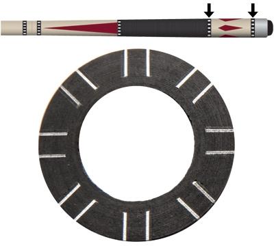 Black/Silver 8-Pair Dash Butt Ring