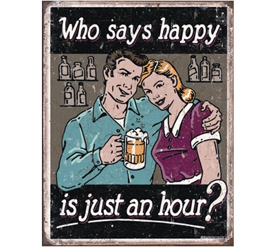 Happy Hour Metal Sign
