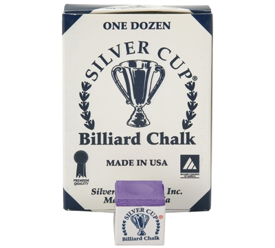 Purple Silver Cup Billiard Chalk – Box/12