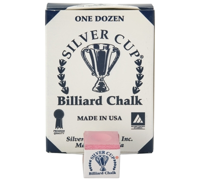 Pink Silver Cup Billiard Chalk – Box/12