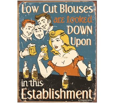 Low Cut Blouses Metal Sign