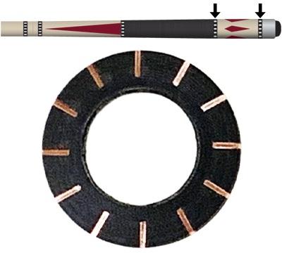 Black/Copper 12 Dash Butt Ring
