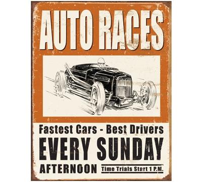 Auto Races Metal Sign