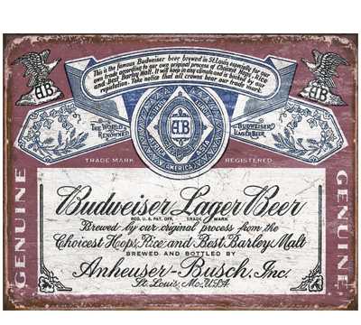 Distressed Budweiser Label Metal Sign