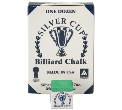 Tournament Green Silver Cup Billiard Chalk – Box/12