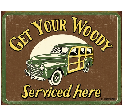 Woody Service Metal Signs