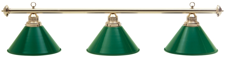 Brass Light w/ 3 Green Metal Shades