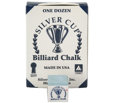 Powder Blue Silver Cup Billiard Chalk – Box/12