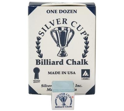 Powder Blue Silver Cup Billiard Chalk – Box/12