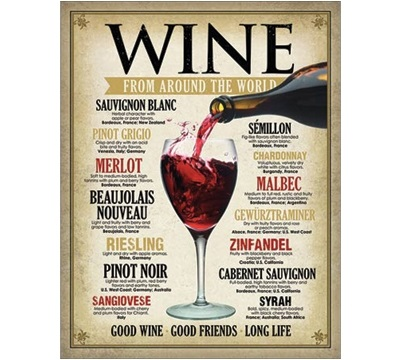 Wine List Metal Sign